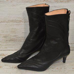DKNY Black Leather Kitten Heel  Bootie 5.5